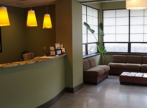 comfortable patient waiting area